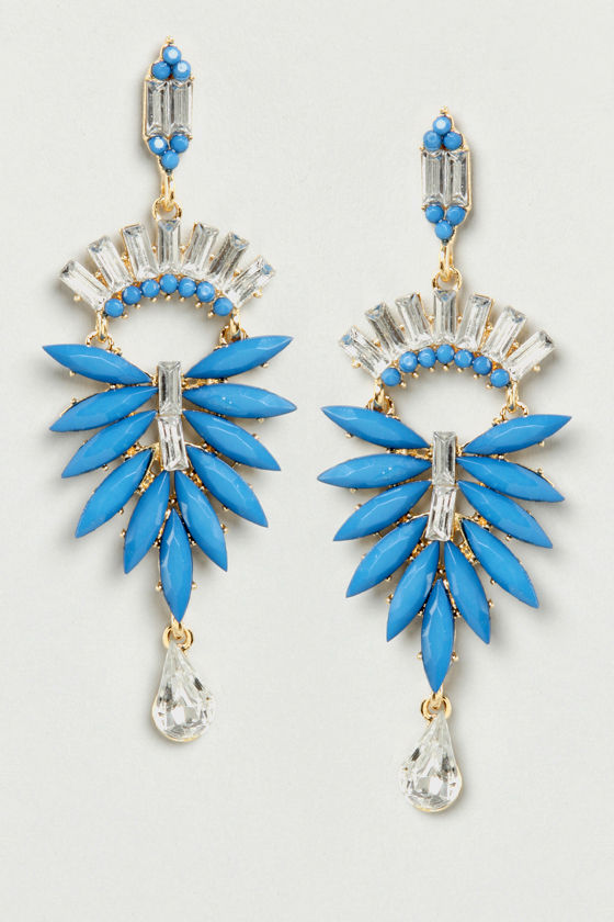Feather Falls Blue Dangle Earrings at Lulus.com!