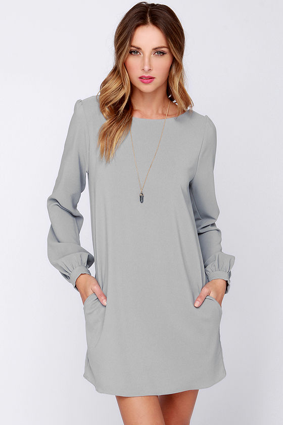 Cute Grey Dress - Shift Dress - Long Sleeve Dress - $38.00