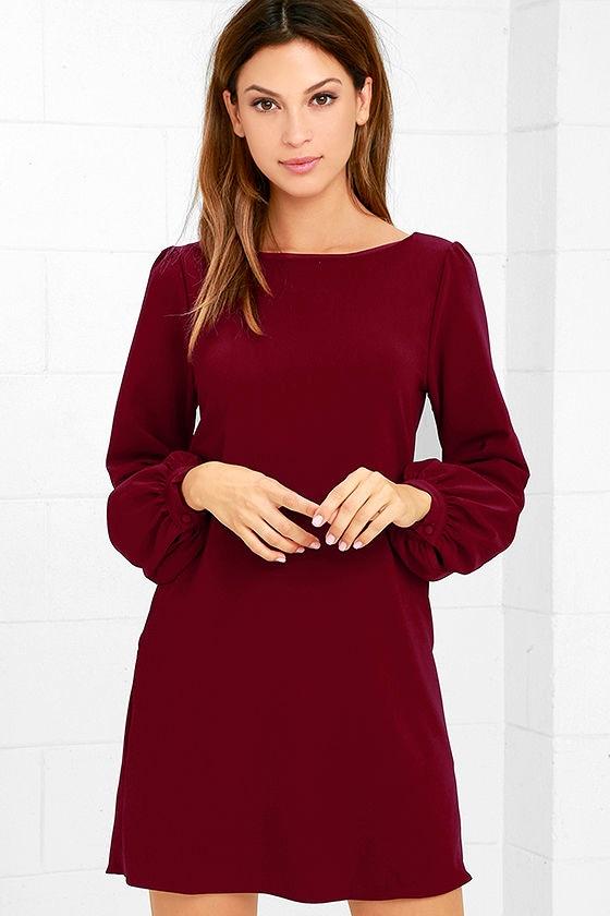 Cute Burgundy Dress - Shift Dress - Long Sleeve Dress - $38.00