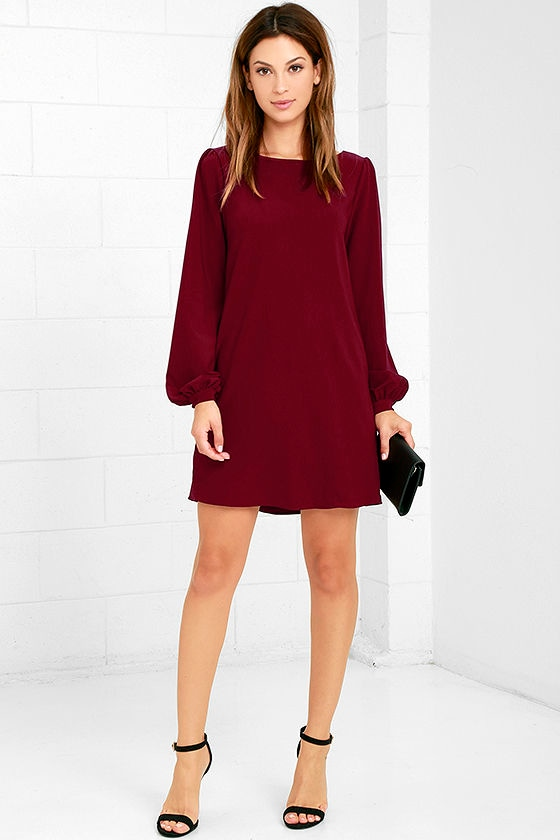 9aa179de30b9 Cute Burgundy Dress - Shift Dress - Long Sleeve Dress - $38.00