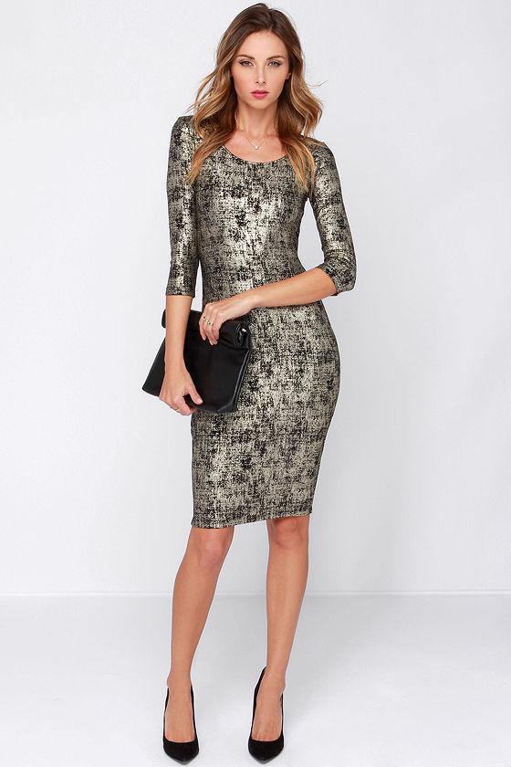 642b7c4e7346 Chic Black and Gold Dress - Midi Dress - Bodycon Dress -  34.00