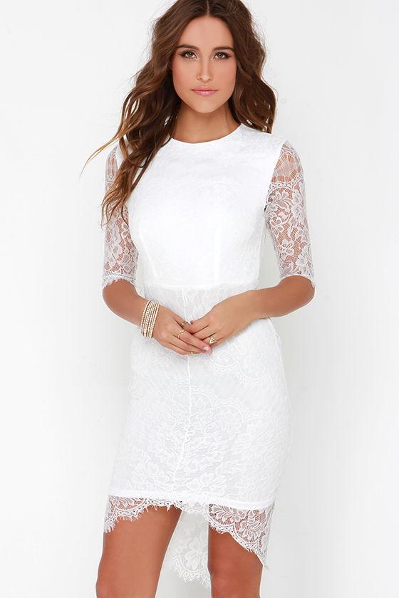 Pretty White Dress - Lace Dress - Bodycon Dress - Little White ...
