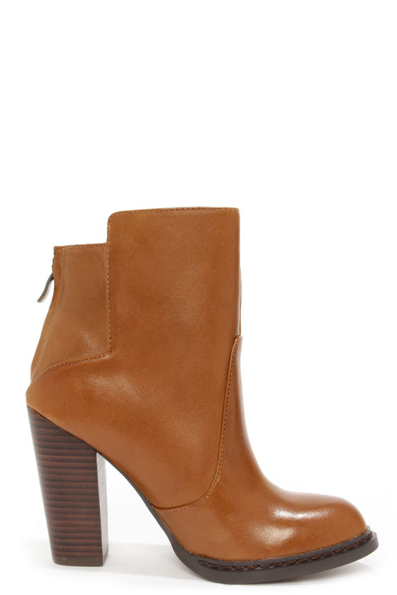 Chinese Laundry Gladly Cognac Leather High Heel Ankle Boots at Lulus.com!