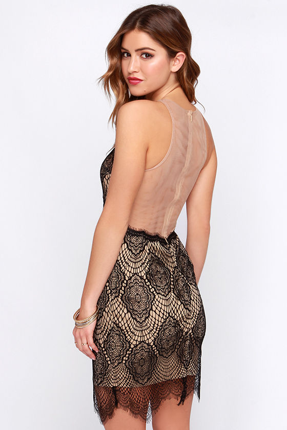 Sexy Black Dress - Lace Dress - Tan Dress - $49.00