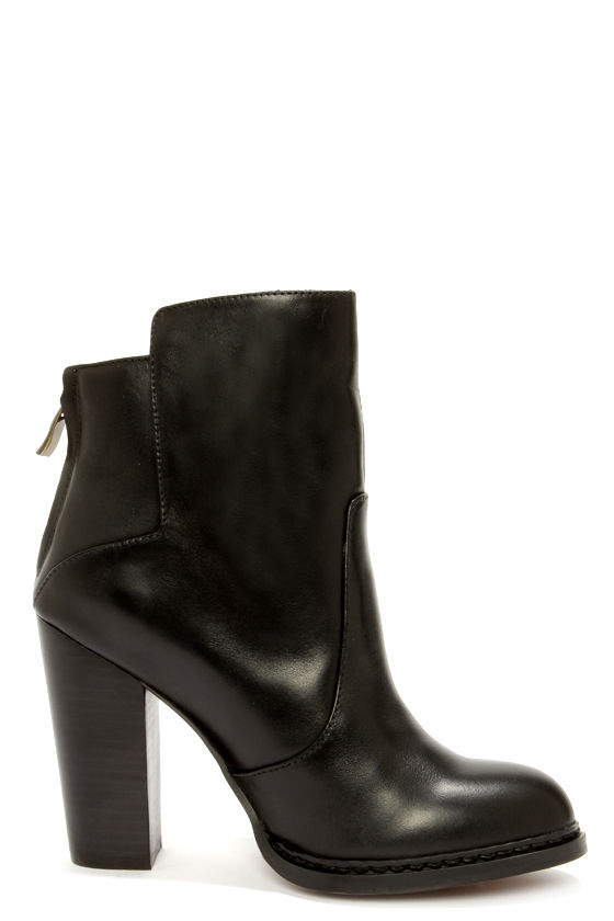 Chinese Laundry Gladly Black Leather High Heel Ankle Boots at Lulus.com!