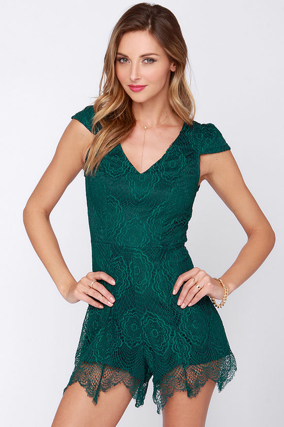 Chic Green Romper Lace Romper Lace Playsuit 49 00