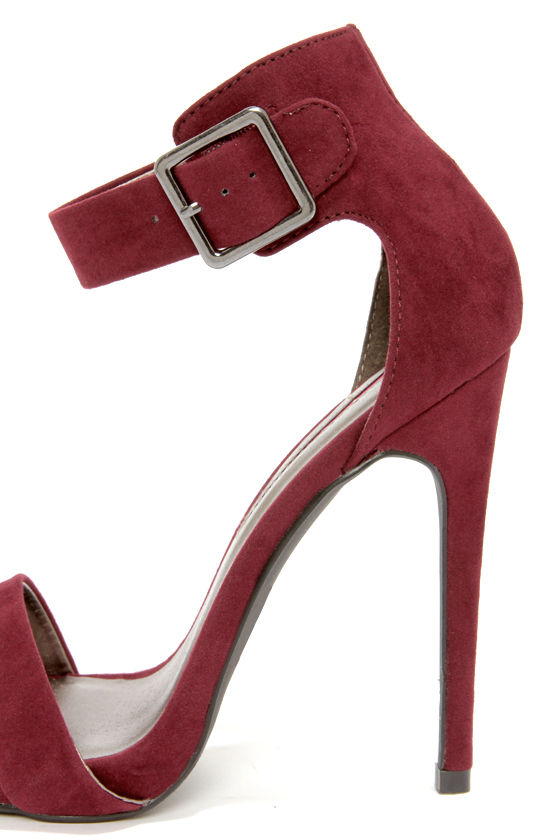 C Label Olive 1A Burgundy Suede Ankle Strap Heels at Lulus.com!