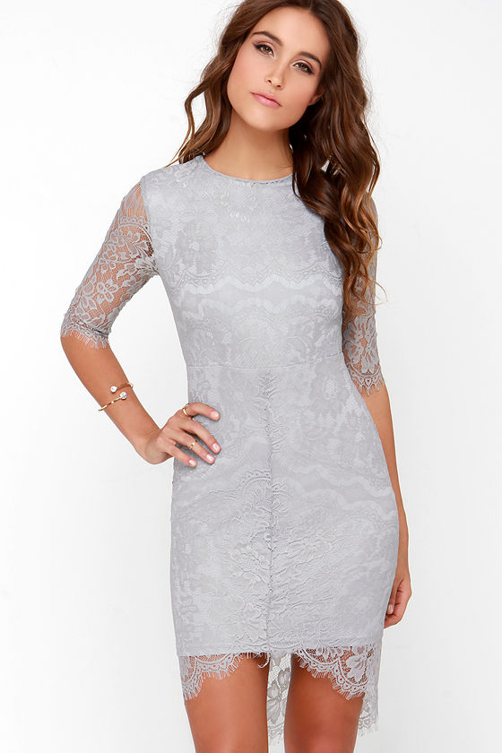 Chic Light Grey Maxi Dress  Lace Dress  Backless Dress
