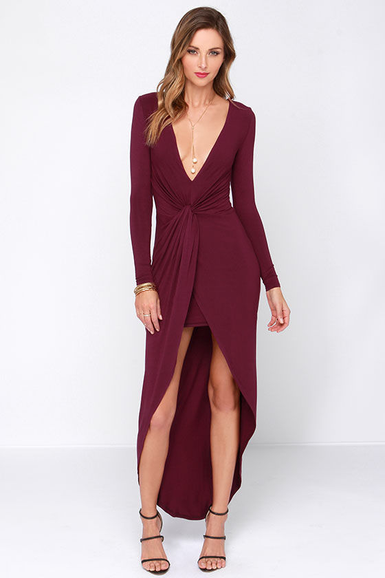 Sexy Burgundy Dress High Low Dress Knotted Dress