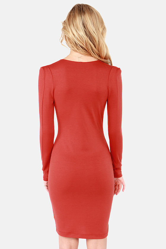 French Flick Rust Orange Dress at Lulus.com!