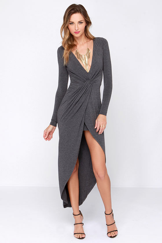 Sexy Grey Dress - High Low Dress - Knotted Dress - Long Sleeve ...