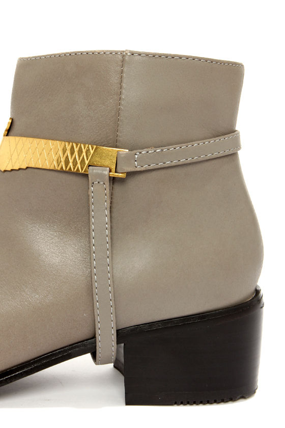 Grey City Wisdom Iron Grey Leather Harness Ankle Boots at Lulus.com!