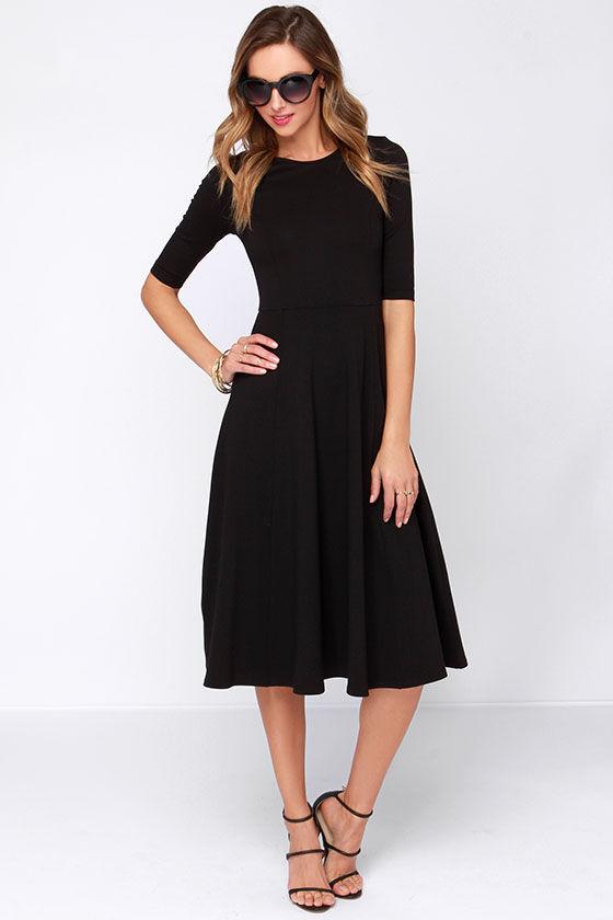 94a9e992f8f Cute Black Dress - Midi Dress - Cocktail Dress -  52.00