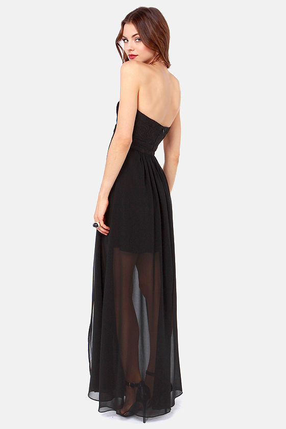 Aryn K Good Graces Strapless Black Maxi Dress at Lulus.com!