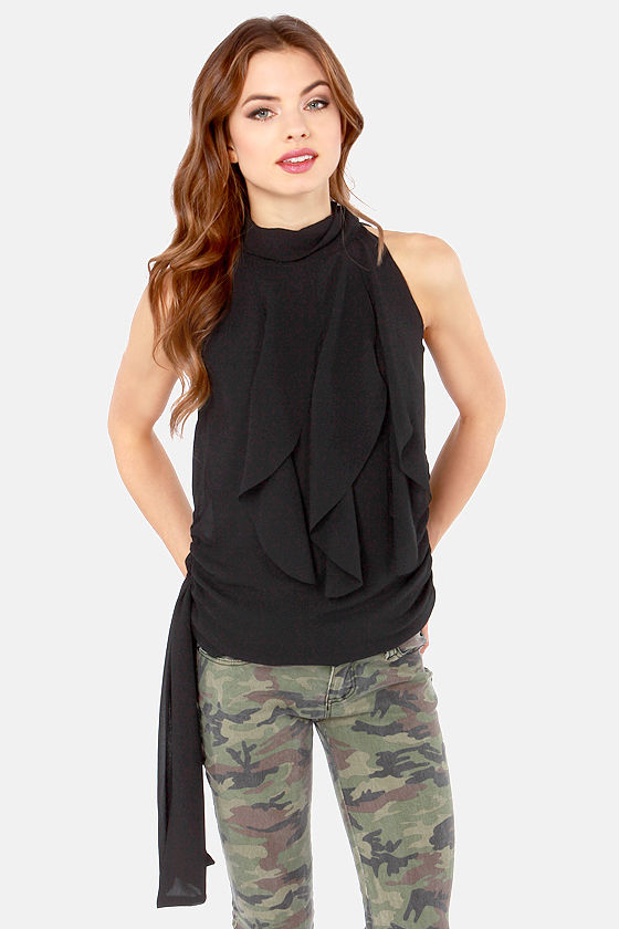 997a56a2543 Ruffle Road Sleeveless Black Top