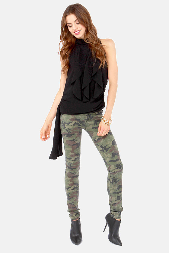 Ruffle Road Sleeveless Black Top at Lulus.com!