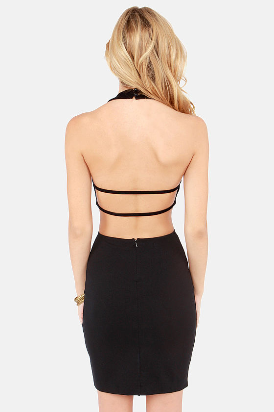 Be Right Backless Black Halter Dress at Lulus.com!