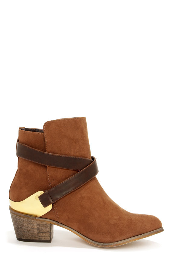 Mixx Shuz Reba Brown and Gold Suede Ankle Boots at Lulus.com!