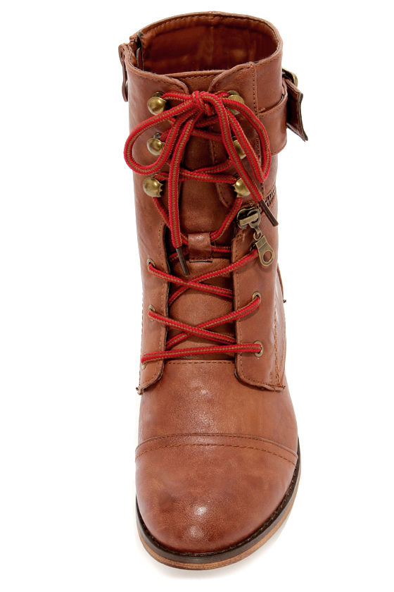 Cowgirl 11 Chestnut Brown Lace-Up Combat Boots at Lulus.com!