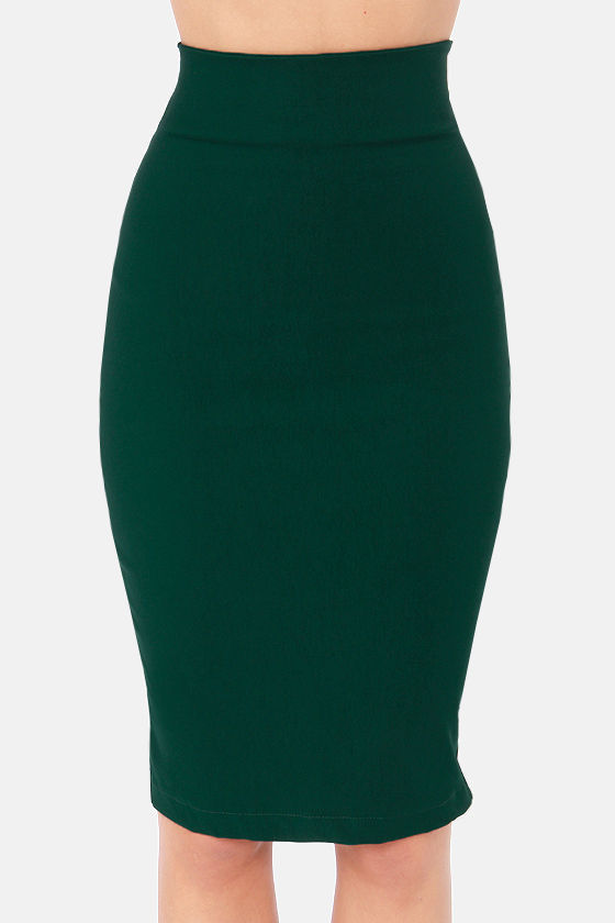Perks of the Job Hunter Green Pencil Skirt at Lulus.com!