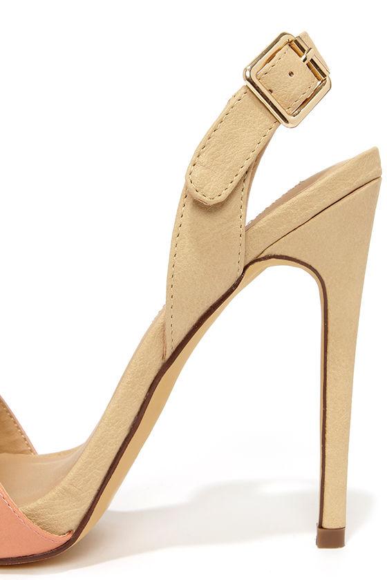 Cute Salmon Heels - Beige and Peach Heels - Slingback Heels - $49.00
