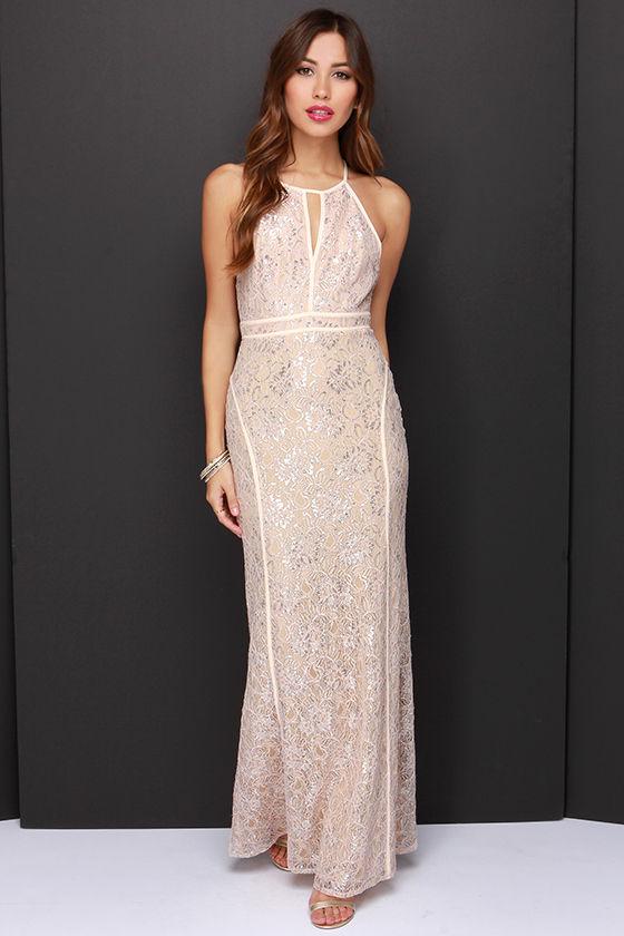 f40c3a37db38 Pretty Blush Dress - Maxi Dress - Lace Dress - Silver Dress -  49.00