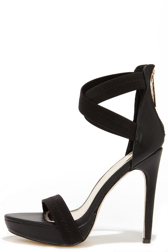 Sexy Black Heels - Ankle Strap Heels - Platform Heels - $38.00