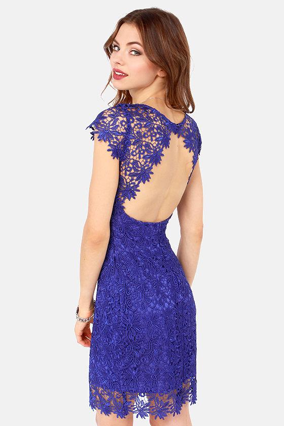 Rubber Ducky Dress - Royal Blue Dress - Lace Dress - $137.00