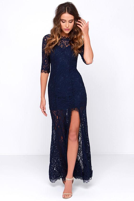 Gorgeous Navy Blue Dress - Lace Dress - Half Sleeve Dress - Maxi Dress -   64.00 de471eeb5