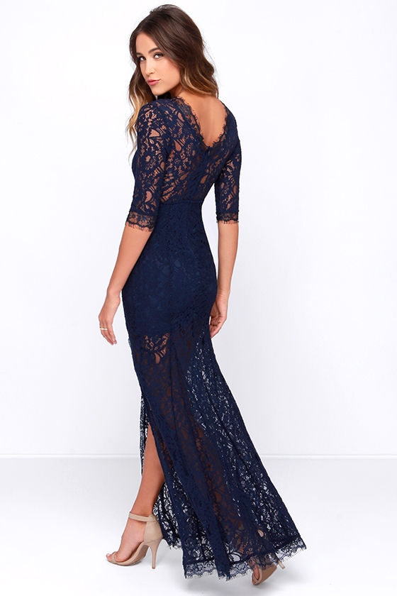 Gorgeous Navy Blue Dress - Lace Dress - Half Sleeve Dress - Maxi ...
