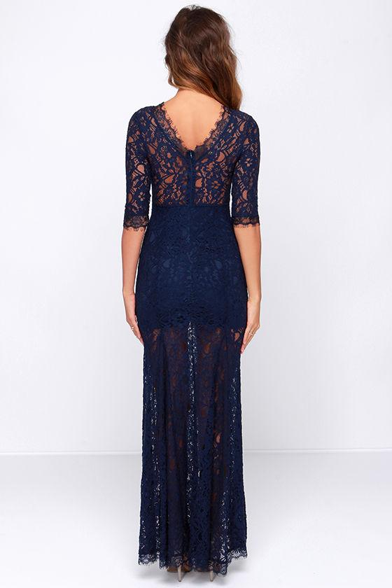 Gorgeous Navy Blue Dress - Lace Dress - Half Sleeve Dress - Maxi ...