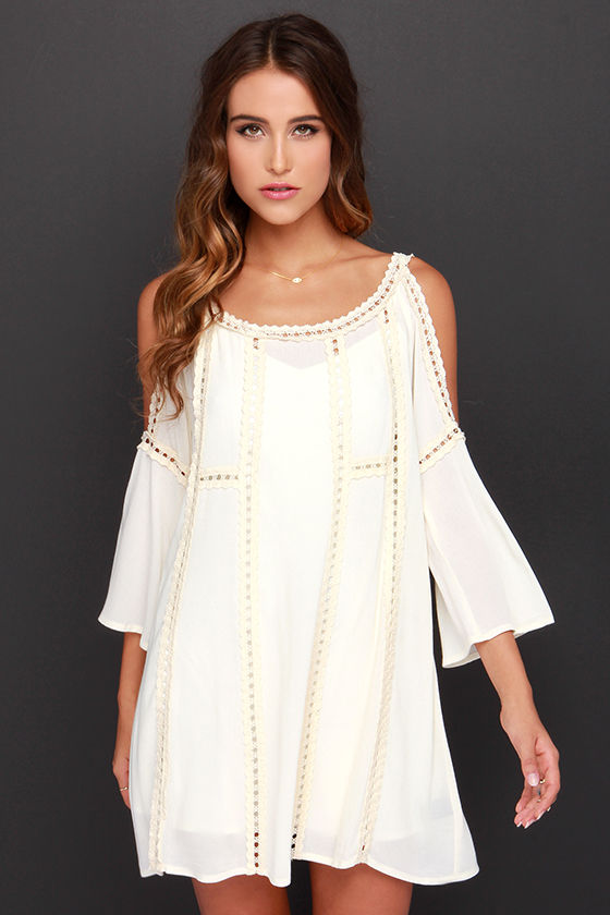 6bd0519671ab Pretty Cream Dress - Crochet Dress - Off the Shoulder Dress -  65.00