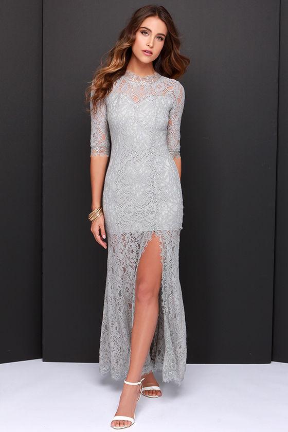 Gorgeous Grey Dress - Lace Dress - Half Sleeve Dress - Maxi Dress ...