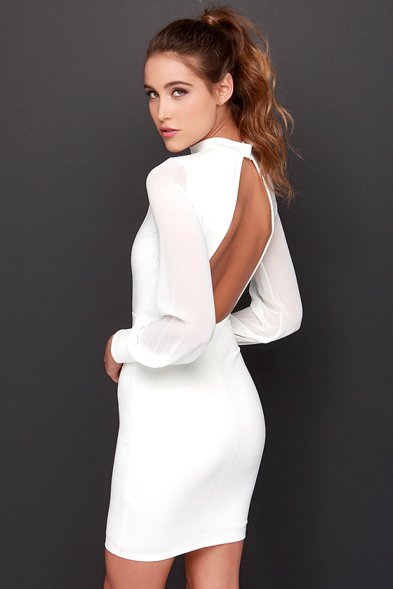 Sexy Ivory Dress - Long Sleeve Dress - Bodycon Dress - $48.00