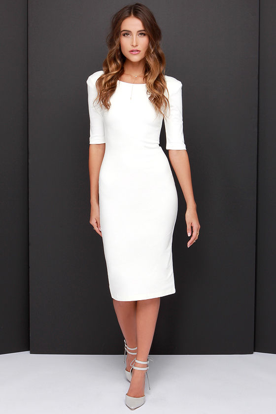 a2224bdce593 LULUS Exclusive We Built This Midi Ivory Midi Dress