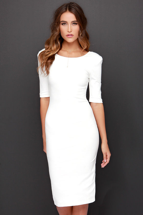 Cute Ivory Dress - Midi Dress - Bodycon Dress - Cocktail Dress ...