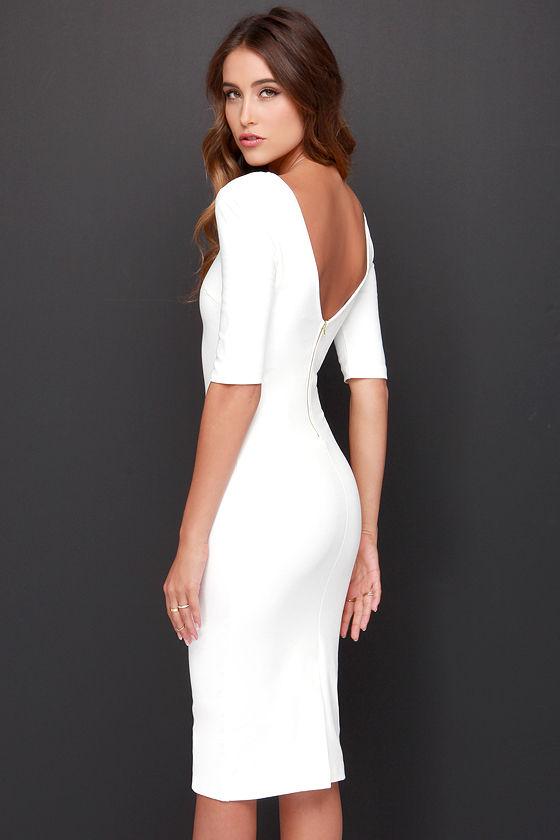 Cute Ivory Dress - Midi Dress - Bodycon Dress - Cocktail Dress ...