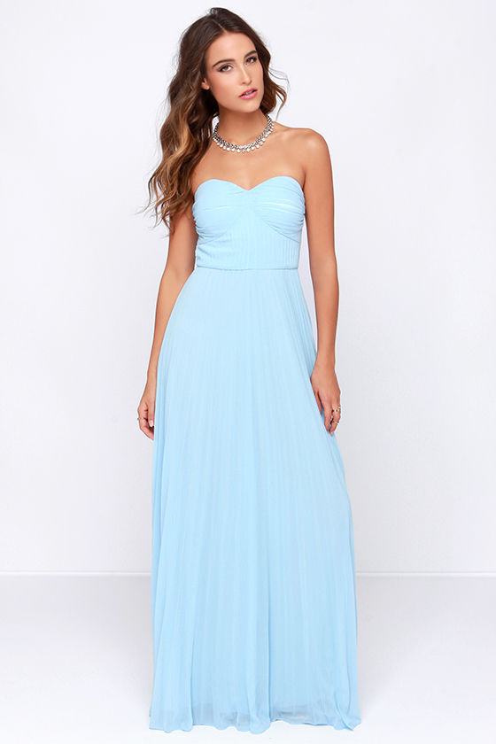 Light Blue Dress - Maxi Dress - Strapless Dress - Pleated Dress ...