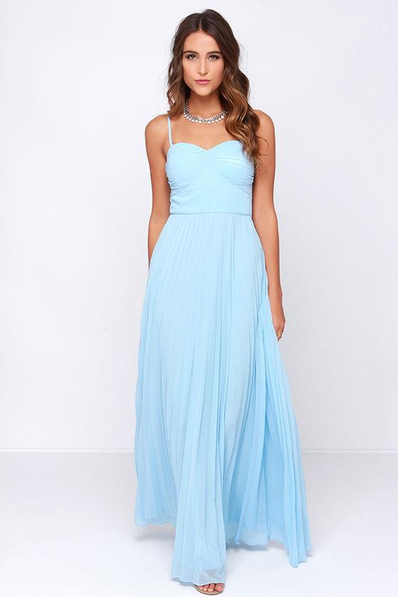 Light Blue Dress - Maxi Dress - Strapless Dress - Pleated ... - photo #14