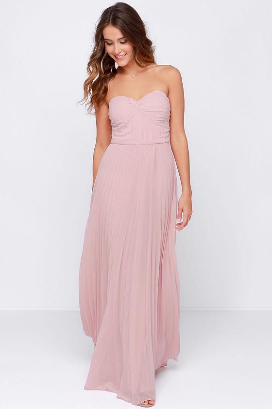 Blush Pink Dress Maxi Dress Strapless Dress Pleated