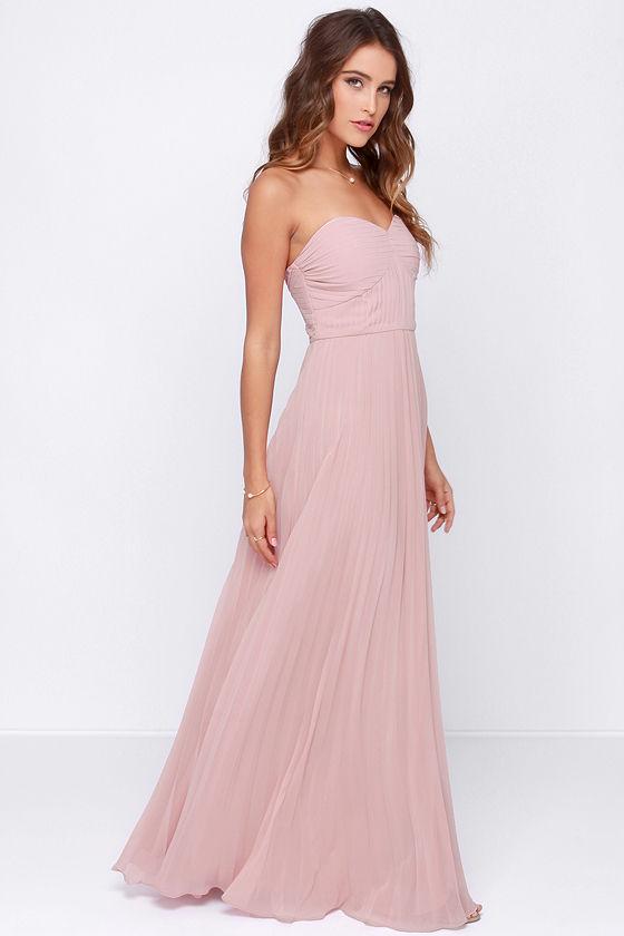 Blush Pink Dress - Maxi Dress - Strapless Dress - Pleated Dress ...