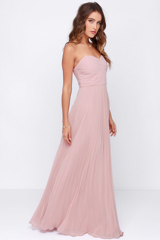 Strapless Maxi Bridesmaid Dress