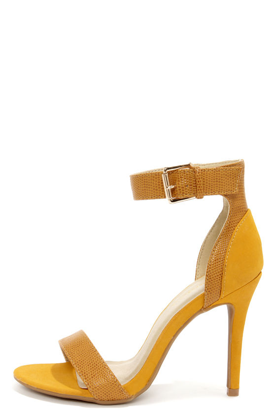 a4f73478485 Shoe Republic LA Francois Mustard Snake and Suede High Heels