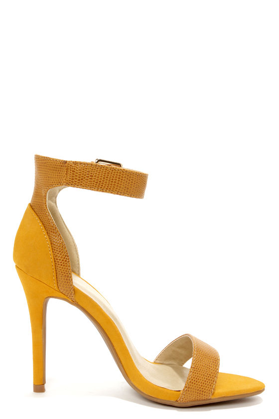 Sexy Yellow Heels - High Heels - Ankle Strap Heels - $33.00