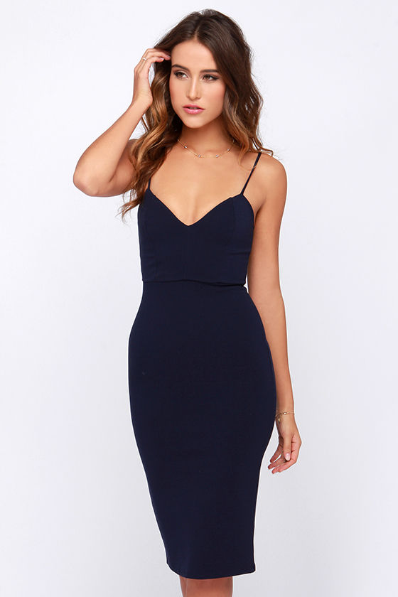 4982c4ab187 Sexy Navy Blue Dress - Blue Midi Dress - Navy Bodycon Dress