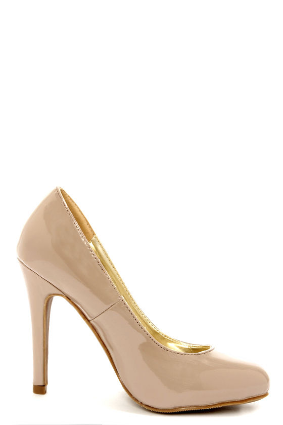 Anabell 1 Taupe Patent Pumps at Lulus.com!