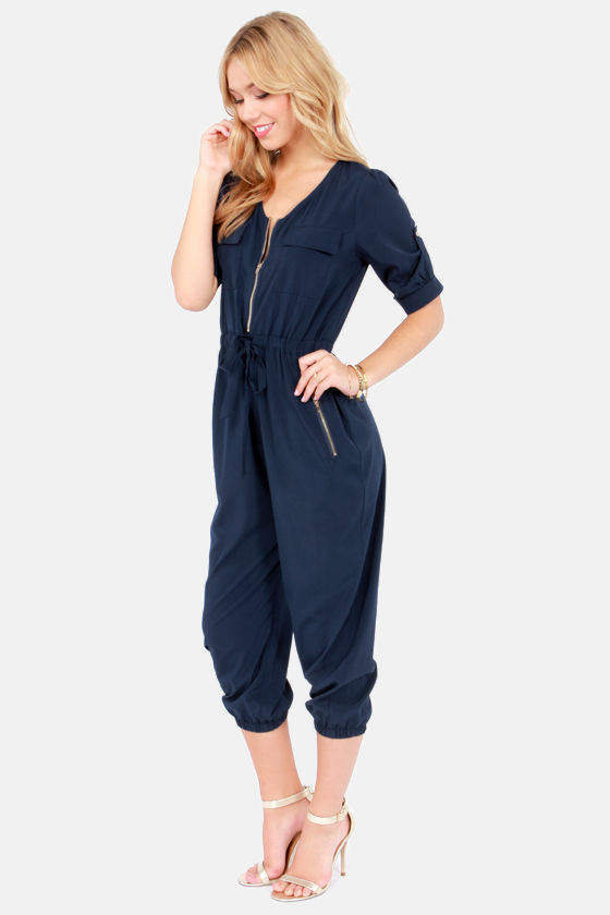 Pop, Lock, and Crop It Cropped Navy Blue Jumpsuit at Lulus.com!