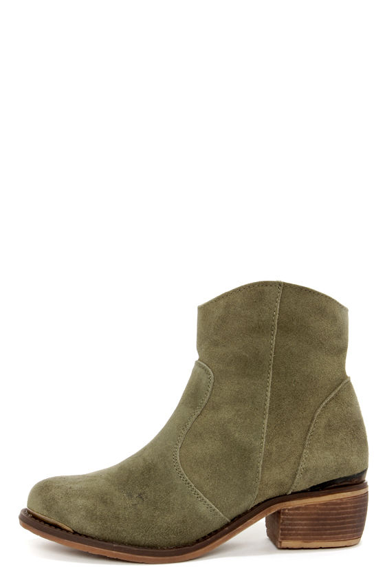 Cute Olive Green Boots - Booties - Ankle Boots - $77.00
