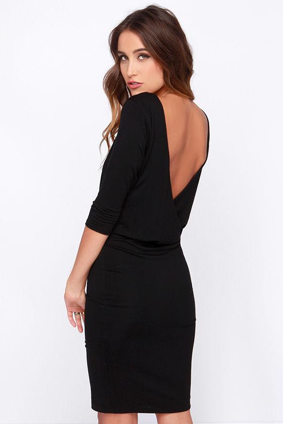 Chic Black Dress - Jersey Knit Dress - Backless Dress - $38.00