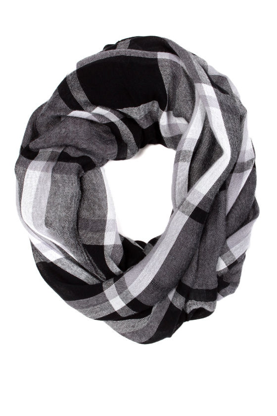 Cool Plaid Scarf Grey Infinity Scarf Circle Scarf 12 00